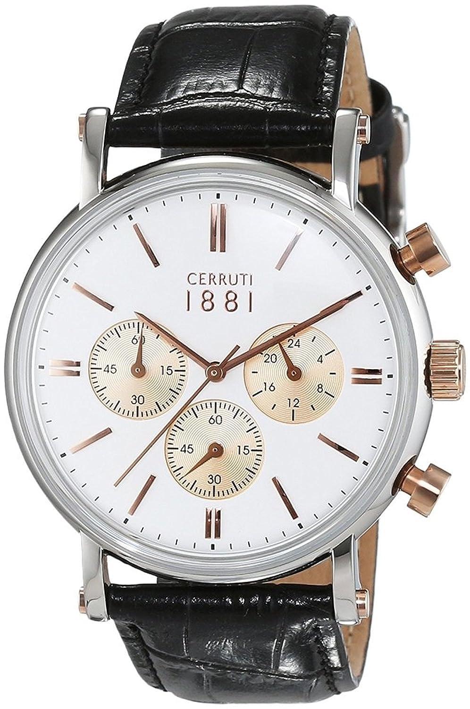 Cerruti 1881 Herren-Armbanduhr TREMEZZO Analog Quarz Leder CRA110STR01BK