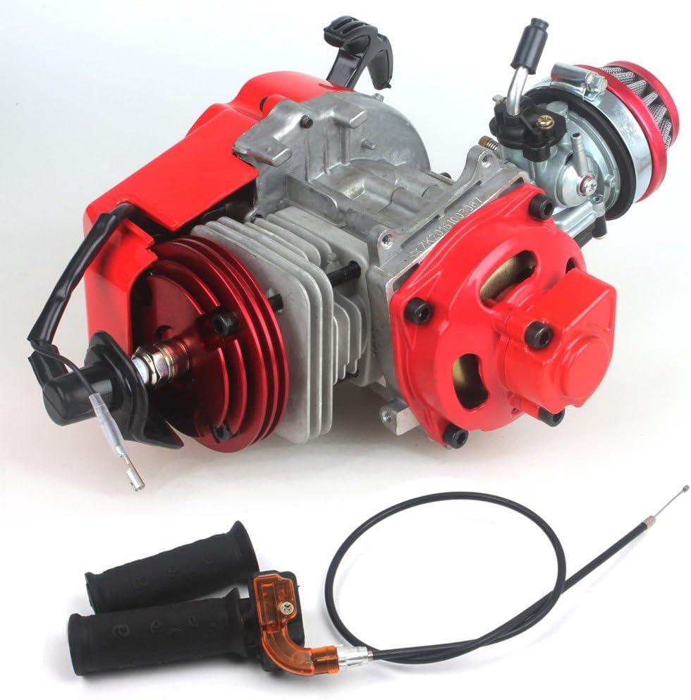 ENG02 Complete 2 Stroke 49 cc Single Cylinder Engine Transfer Box Minimoto Mini Dirt Bikes