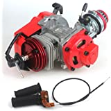 49cc 52cc Big Bore Pocket Bike Engine with Performance Cylinder CNC Engine Cover Racing Carburetor DIY Engine Red + Handle Gr