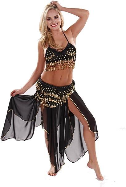 Miss Belly Dance Disfraz de bailarina del vientre con falda de ...