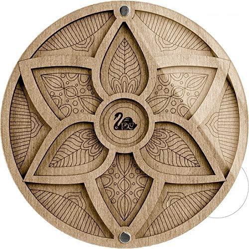 1pc Blume Mandala-Perlen-Organizer-Handwerk-Feld, künstlerbedarf, Schmuck, Aufbewahrungsbox, Holz-Sortier-Edelstein-Fach-Board Mit Deckel 14cm