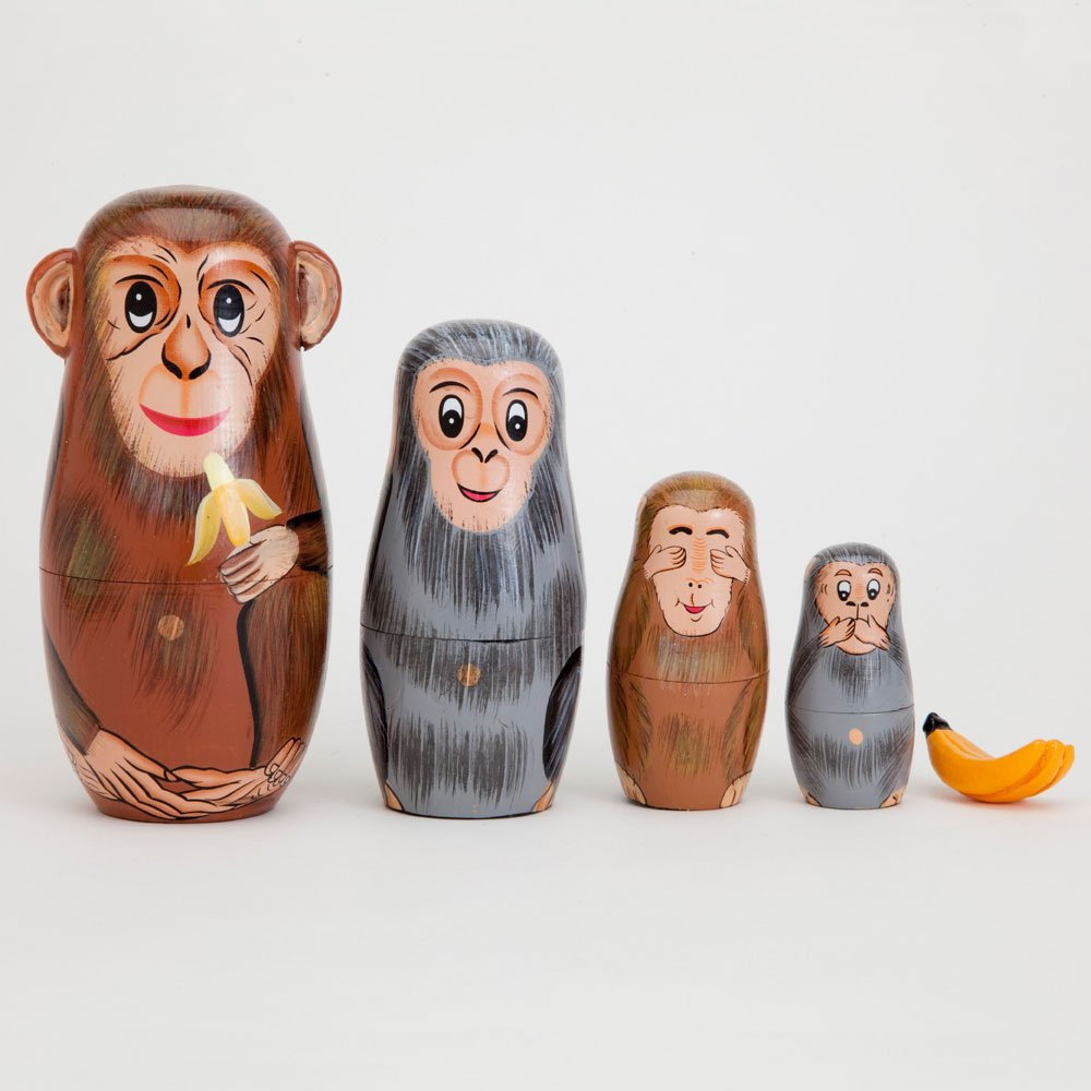 Bits and Pieces - Nesting Monkeys - Hand Painted Wooden Nesting Dolls - Matryoshka - Set of 5 Dolls from 6'' Tall