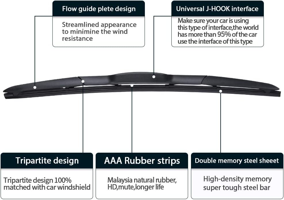 Pack of 2 17 for 2005-2012 Toyota RAV4 24 Windshield Wiper Blades MIKKUPPA Front Wiper Replacement