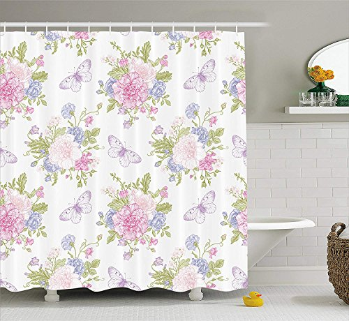 Nyngei Shabby Chic Shower Curtain by Flowers Floral Design with Buds and Butterflies Ivy Swirl Art Fabric Bathroom Decor Set with Hooks 70.8x70.8in Light Pink Peach and Purple