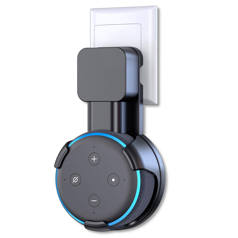 Cocoda Supporto Muro per Echo Dot (3ª Generazione), Gestione dei Cavi Integrata Senza Fili o Viti Disordinati, Salvaspazio Wall Mount Stand Compatta per Assistenti Vocali per la Casa (Nero) EU6-Echo Dot 3 Holder-Black