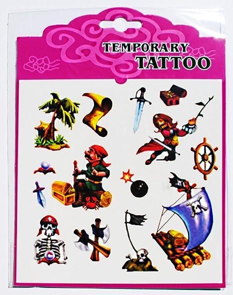 1 placa de 14 tatuajes temporaires pirata Tatoo NF: Amazon.es: Hogar