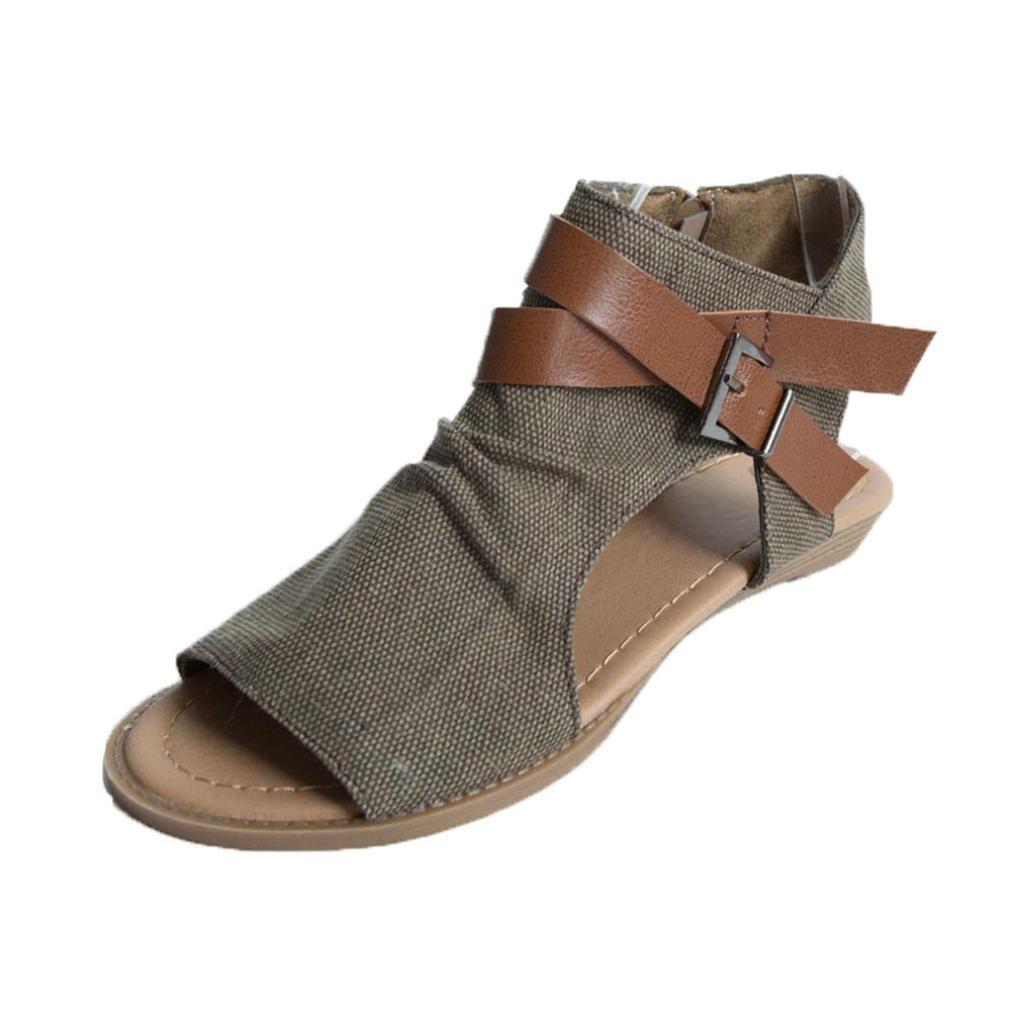 ASHOP Sandalias Mujer Bohemia Las Bailarinas Planas Zapatos de Cordones Verano Correa Plana Tobillo Romano Moda Zapatillas De Playa Sandalias y Chanclas de ...