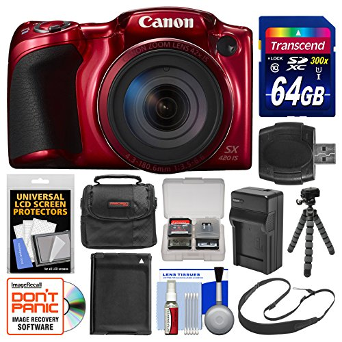 Canon PowerShot SX420 is Wi-Fi Digital Camera (Red) with 64GB Card + Case + Battery & Charger + Flex Tripod + Sling Strap + Kit