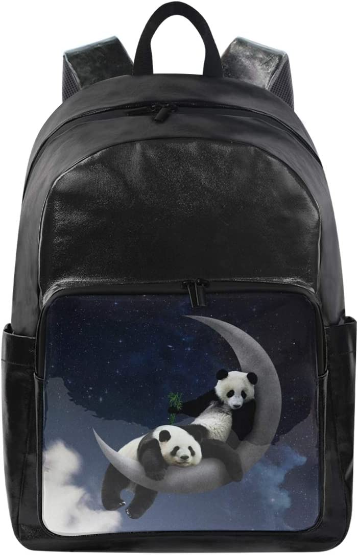 Panda On The Moon Holds 12.5-inch Laptop Student Backpacks College School Book Bag Travel Hiking Camping Daypack for boy for Girl 12.5x9x17.5