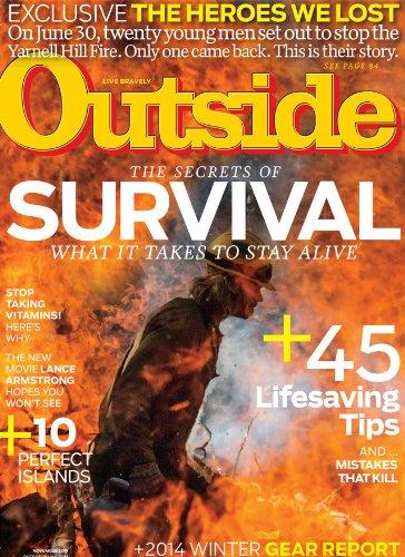 OUTSIDE MAGAZINE NOVEMBER 2013 'THE SECRETS OF SURVIVAL' COVER