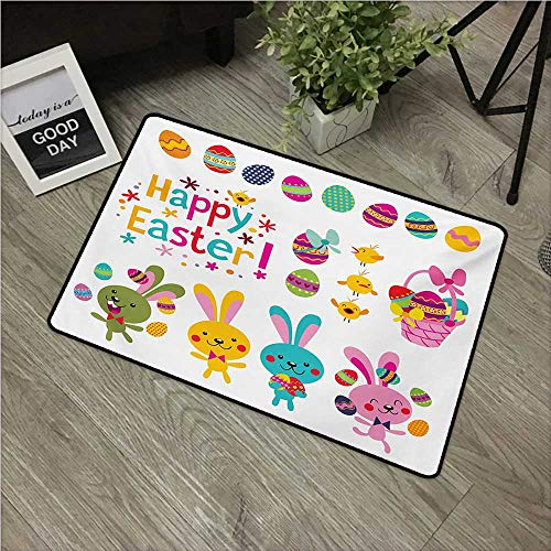 HRoomDecor Easter,Doormats Spring Season Holiday Themed Colorful Cartoon Bunnies Chicks and Eggs Illustration W 20