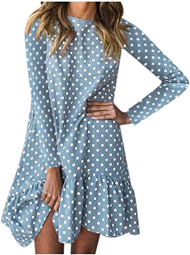 iQKA Women Floral Print Shirt Dress Plus Size Summer Long Sleeve Mini A-Line Dress Vestido