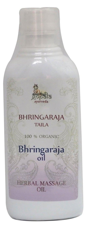Bhringaraja Aceite , Aceite de masaje ayurveda tradicional a base de hierbas para masaje de cabello, Anticanas, Certificado LACON GmbH en Europa, Suplemento 100% natural ecológico, Aceite 500 ml Gopala Ayurveda