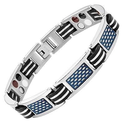 ea8a253a615 Willis Judd homme en titane Bracelet magnétique 4 elements avec Bleu Nid  d abeille et