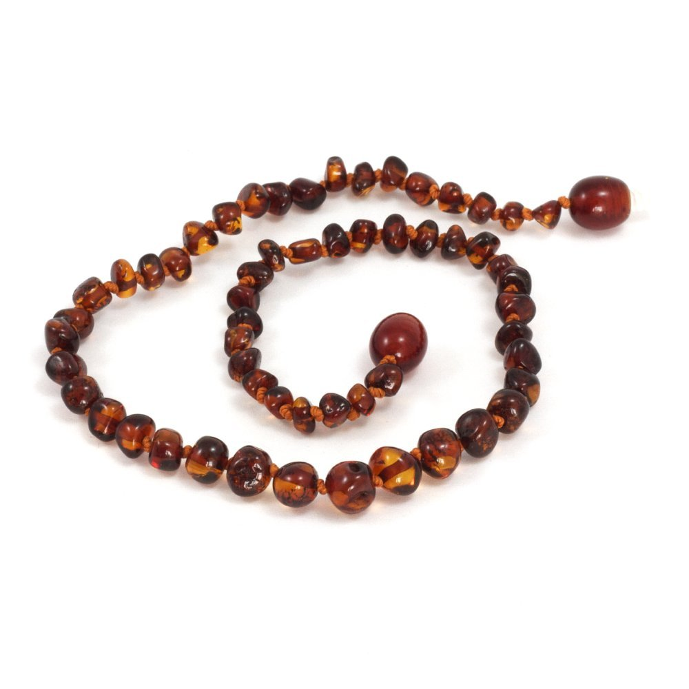 Momma Goose Amber Teething Necklace, Light Cherry Baroque, Medium 1001M