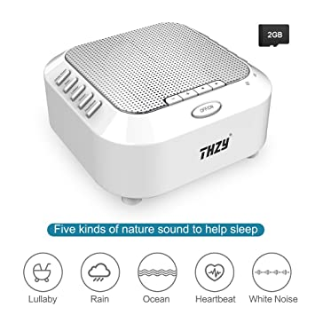 White Noise Machine,THZY Portable Sleep Sound Machine with 5 Noise Options  and Nightlight Mode,3