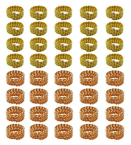 Hyamass 40pcs Gold and Rose Gold Twisted Hair Coil Dreadlocks Braiding Beads Twisted Braid Wig Spring Jewelry Ring Hair Rings (Jewelry Gold Rose Hair)