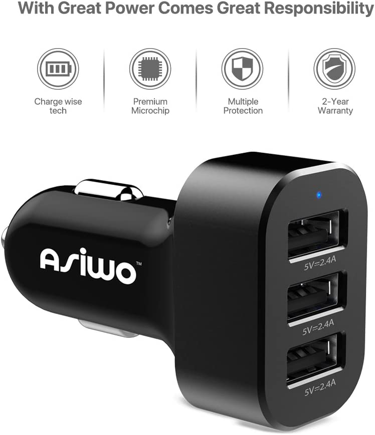 Samsung Galaxy S9 S8 S7 S6 Edge iPad Mp3/&More Note 8 5 4 Nexus 6P Asiwo 3-Port USB Car Charger,Car Phone Smart Charger compatible iPhone X//8//8Plus 7 6S 6 Plus