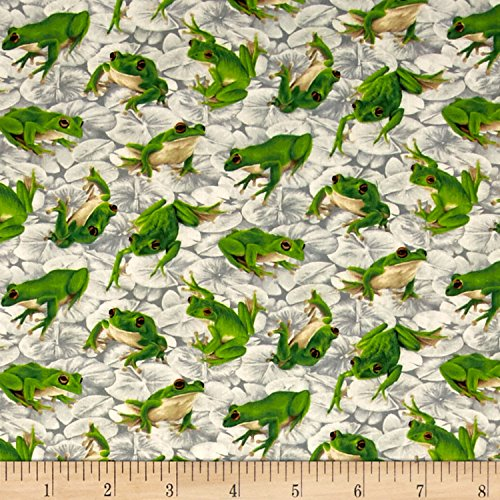 Fabri-Quilt Frolicking Fields Tossed Frogs Silver/Multi,