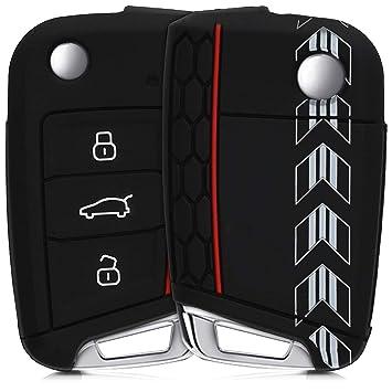 kwmobile Funda para Llave de 3 Botones para Coche VW Golf 7 MK7 - Carcasa Protectora [Suave] de [Silicona] - Case de Mando de Auto con diseño de ...