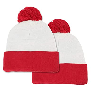 0760d391b6c58e Amazon.com: Waldo Costume Red White Pom Pom Cuff Knit Beanie Hat (One Size,  2 Pack): Clothing
