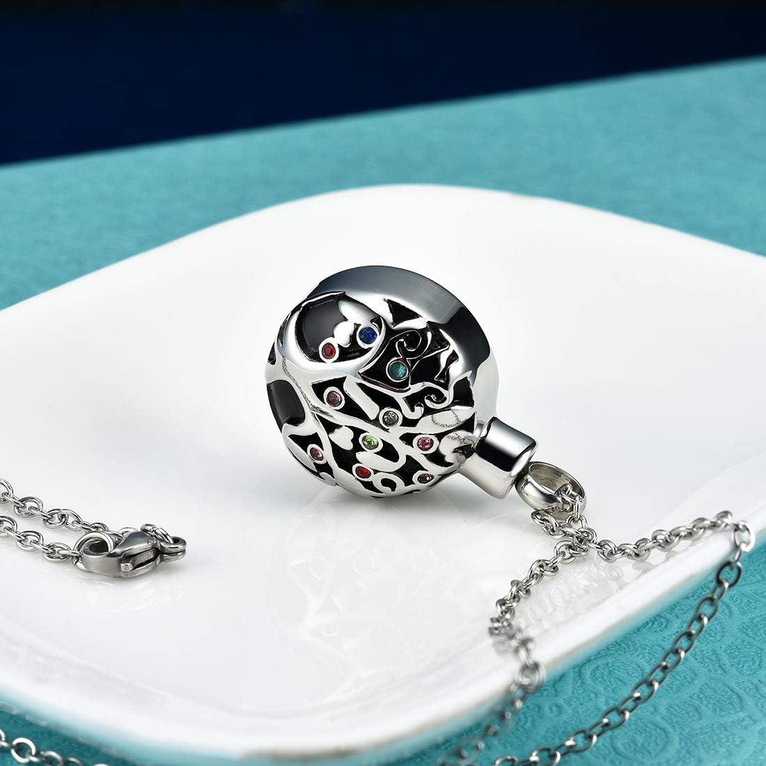 Cat Eye Jewels Memorial Cremation Urn Keepsake Ash Holder Heart Birthstone Pendant Necklace for Ashes for Men Women with Funnel Kit