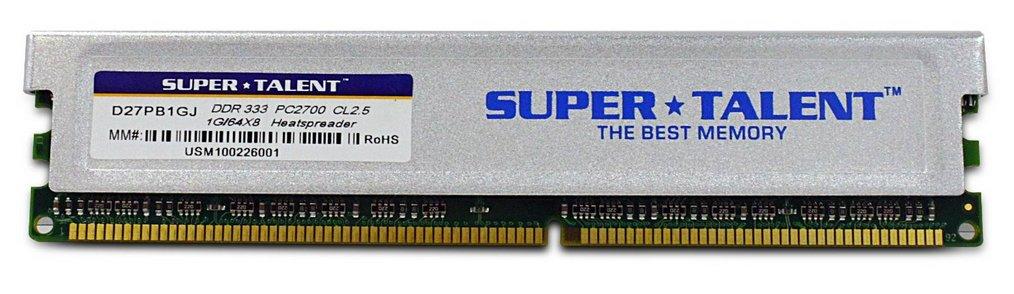 Memoria RAM 1GB Super Talent DDR333 64X8 CL2.5 16-Channel (PC and Mac G5) D27PB1GJ