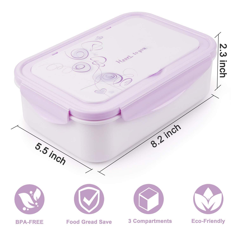 Beige Fiambrera con 3 Compartimientos Cuchara Tenedor Lonchera Bento Box Sostenible para Microondas y Lavavajillas. Lunch Box LAKIND Fambrera Infantil