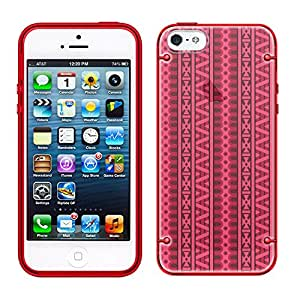iPhone 6 Plus Aztec Andes Pink Red Vertical Pattern See Through Case with Glow Red Trim