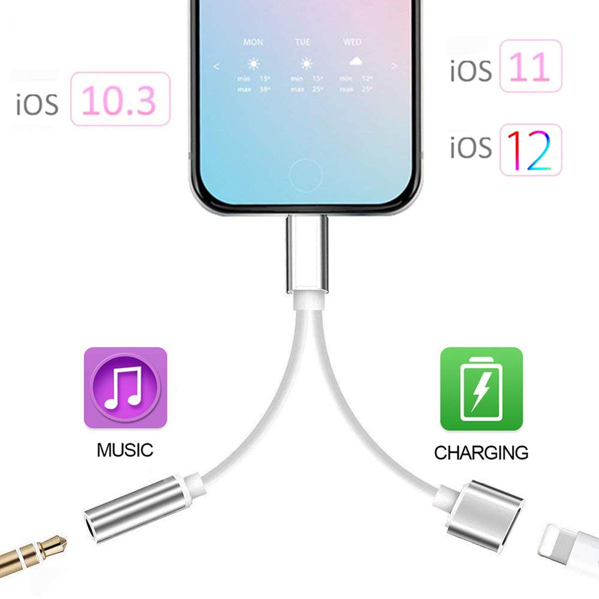 2 in 1 Adapter Compatible with iPhone 7/7 Plus/XS Max/XS/XR/X 10/8/8 Plus, Compatible iPhone Headphone Adapter/Splitter, 2-Port Headphone Audio and Charger Adapter,Compatible iOS 10.3, iOS 11 or Later