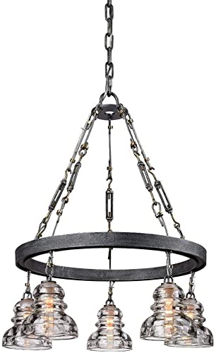 Troy Lighting F3135 Menlo Park – Five Light Small Chandelier, Old Silver Finish with Historic Pressed Clear Glass