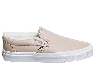 310b831b405a76 Vans Women s Classic Slip-on (Leather) Skate Shoe Mahogany Rose True White