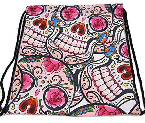 - allenshopping 3D Print Drawstring Backpack Women Vintage College Students School Bagpack Girls Bags 5 onesize