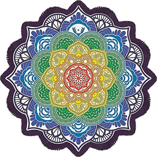 Gogoboi Large Round Lotus Flower Shape Mandala Tapestry Outdoor Beach Roundie Hippie Gypsy Boho Throw Towel Tablecloth Wall Hanging (K)
