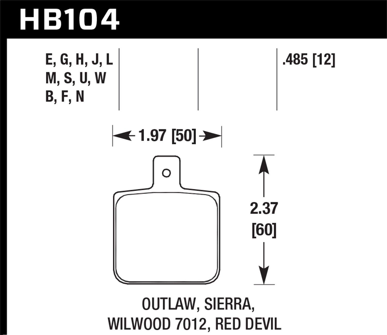 Hawk Performance HB104B.485 High Performance Street 5.0 Brake Pad