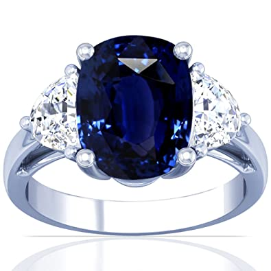 ab2117c85222cb Image Unavailable. Image not available for. Color: Platinum Cushion Cut Blue  Sapphire Three Stone Ring