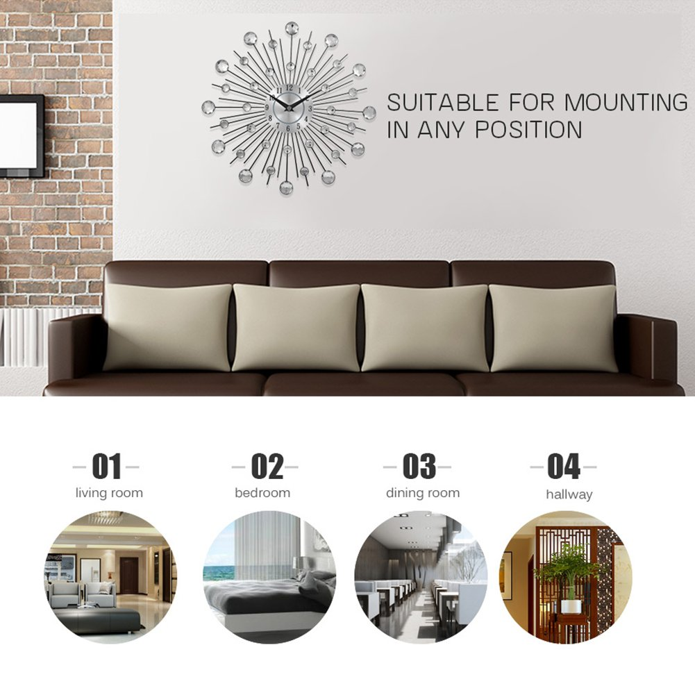 Najer Crystal Sunburst Metal Clock Home Art Decorative Wall Clock