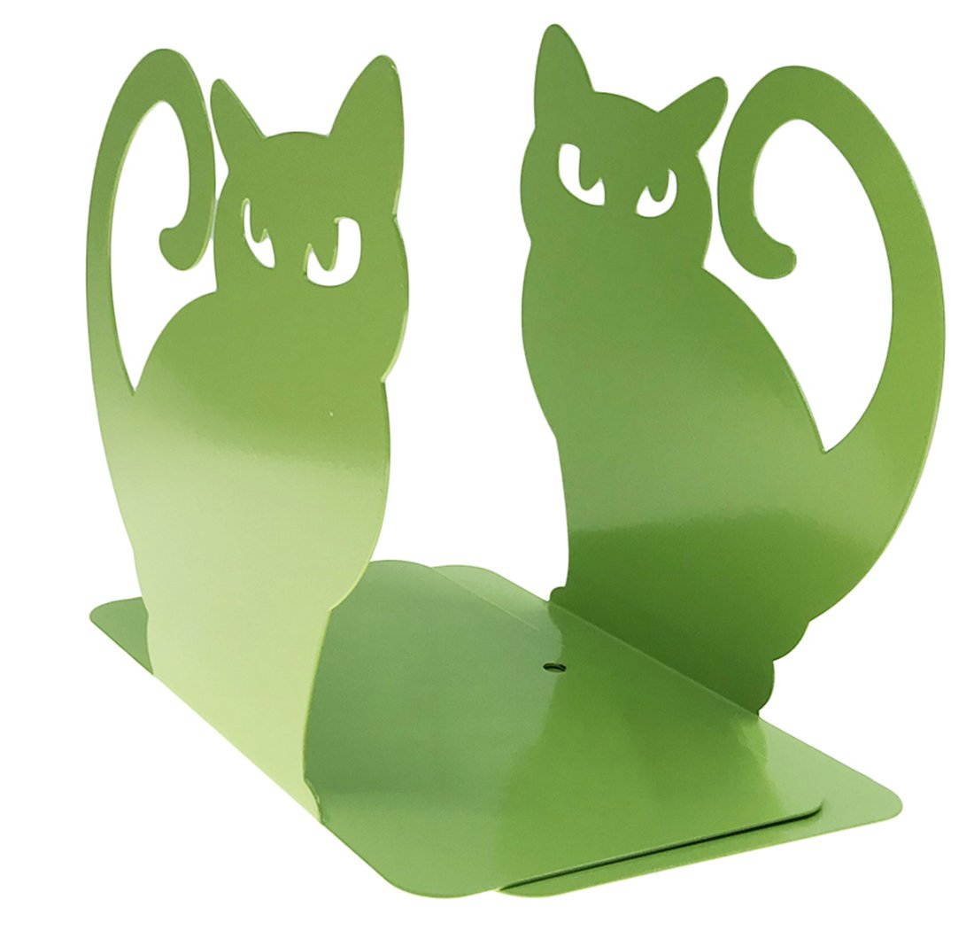 Arsdoll Cute Persian Cat Heavy Duty Nonskid Thickening Iron Metal Bookend Decorative Book Holder Organizer For Office School Library Home Study Decoration Perfect Mother's Day Gift (Green)