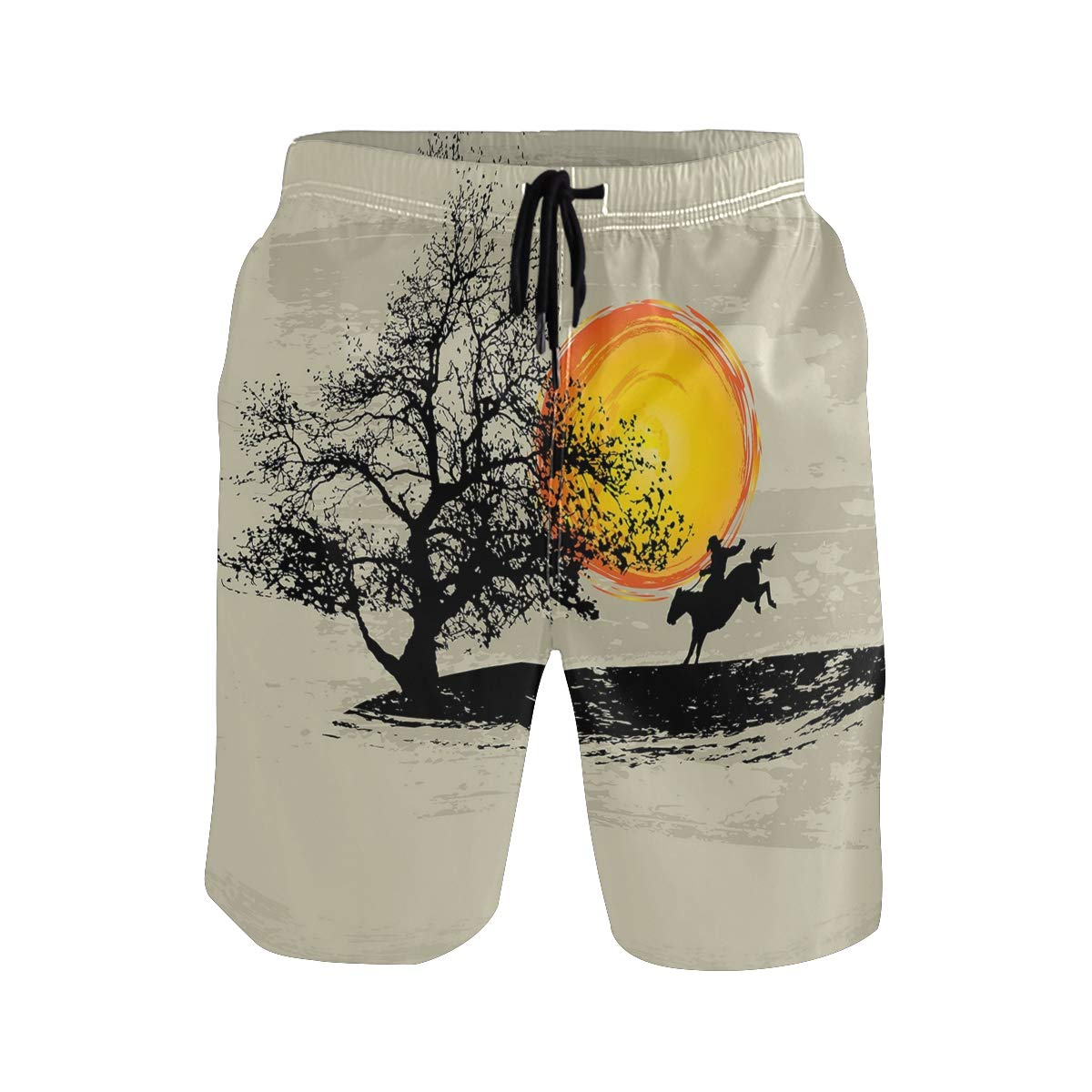 COVASA Mens Summer ShortsArtistic Painting Style Composition Setting Sun Lonel