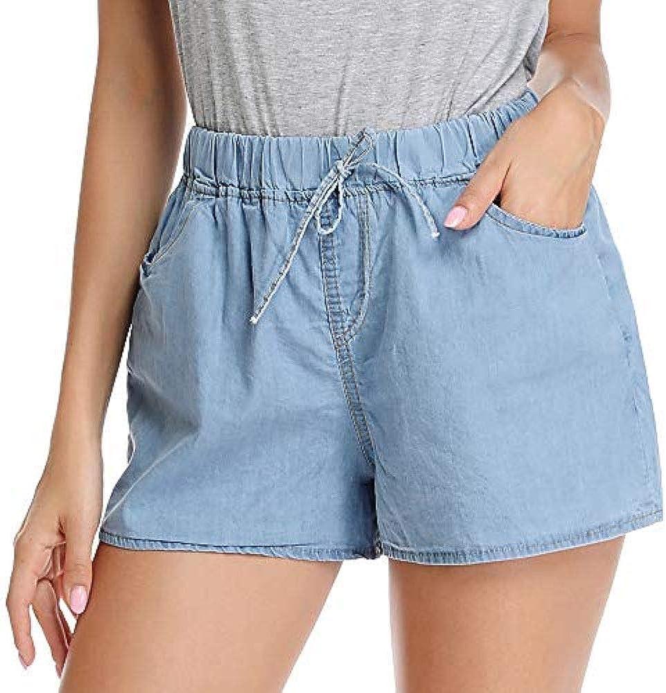 kefirlily Shorts Vita Alta Denim Donna a Vita Alta con Elastico con 2 Tasche Nero//Blu
