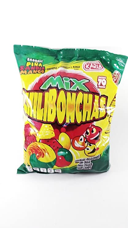 Mexican Candy CHILIBONCHAS MIX Watermelon, Mango and Pineapple Flavors 70pz Dulces Karla Authentic Mexican Candy