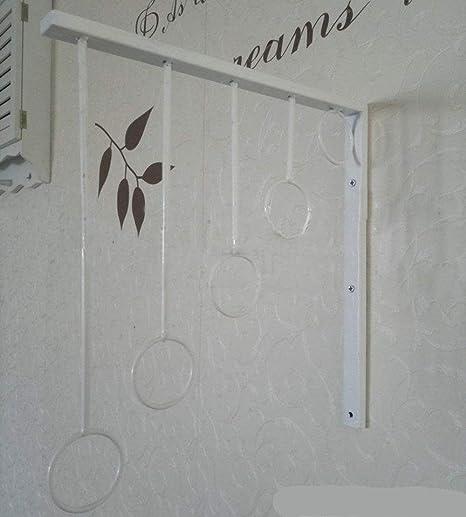 Dragonmys UK- Colgador de ropa de hierro forjado de estilo europeo, soporte de exhibición, estante de ropa de pared de escalera triangular colgante ropa infantil (Color : Blanco) : Amazon.es: Hogar