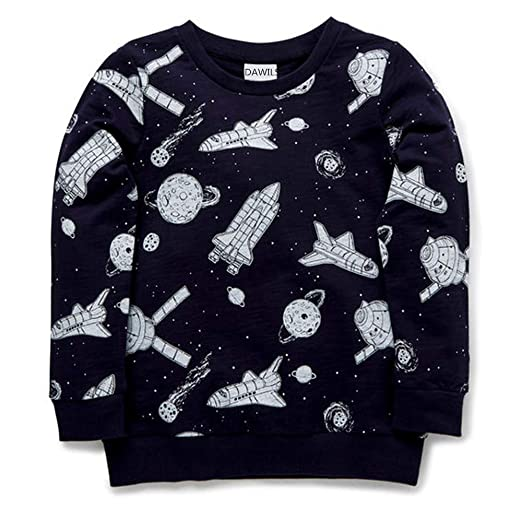 e8e49e7421f1 Amazon.com  DAWILS Boys Sweatshirt Kids Long Sleeve Fleece Crew Tee ...
