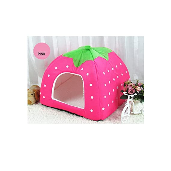 Amazon.com : 2pcs x Angelakerry Pet Dog Cat Bed Warm Cushion House Strawberry Kennel Doggy Soft Bed New(Blue colour M Size) : Pet Supplies