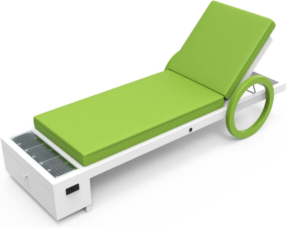 Solar Powered Chaise Lounge with Solar Panel for Charging Phones, Laptops and Tablets. Includes Two USB Charging Ports, 12v Power Outlet and Locker. All-Weather Outdoor Patio (Green)