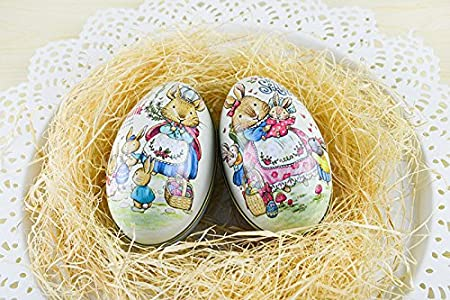 Miyare 2pcs easter egg shaped candy box easter printing alloy metal miyare 2pcs easter egg shaped candy box easter printing alloy metal trinket tin gift box party negle Choice Image
