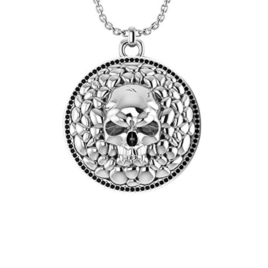 Belinda Jewelz 925 Real Solid Sterling Silver Rhodium Plated Graveyard Skull Medallion Round Gothic Hanging Mens Man Boys Biker Gift Fine Jewelry Long Curb Chain Necklace Pendant, Onyx Black, 24-inch