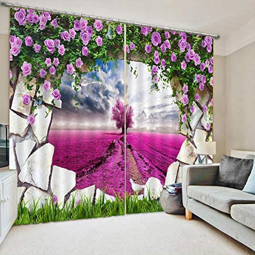 QinKingstore フラワードアラベンダーカーテン170 * 200ホームファッションミックス&マッチチュールシアーレース&ブラックアウトカーテンセット