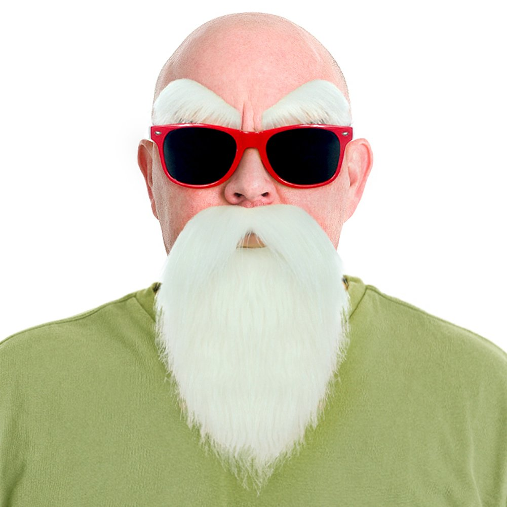 Dragon Ball Kame Sennin Master Roshi Costume White Beard Mustache with Glasses(Red) by Party Chili