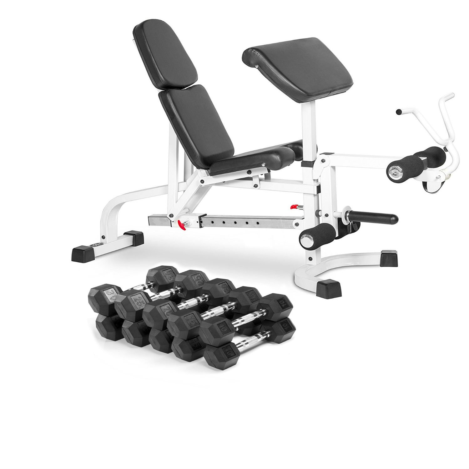 Combo Offer XMark Fitness FID Weight Bench with Leg Extension and Preacher Curl with Premium Quality, Rubber Coated Hex Dumbbells-Sold in Sets (5 Pair: 10, 15, 20, 25, and 30 lbs. - Total 200 lbs.)